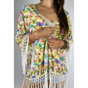 SILVER WISHES Floral Fringed Boho Wrap Jacket Sz 8